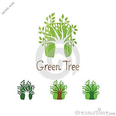 Green Tree vector logo design. Garden concept. Eco icon. Vector Illustration
