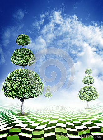 Free Green Trees, Blue Sky With Clouds And Abstract Fantasy Checkerboard Floor Stock Photography - 64771892