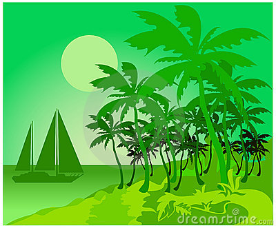 Green tropical beach and boat
