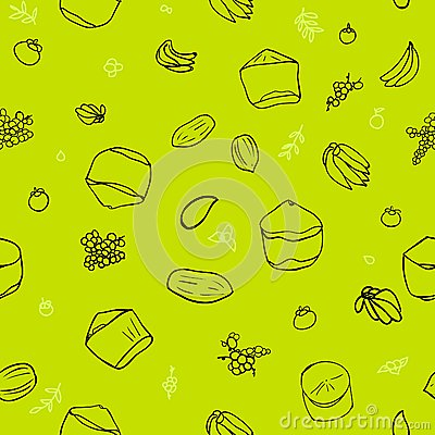 Green tropical fruit seamless pattern