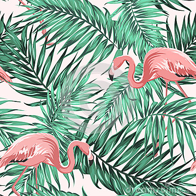 Free Green Tropical Jungle Leaves Ping Flamingo Couple Royalty Free Stock Photos - 93521008
