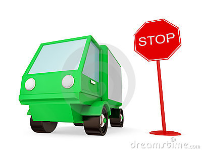 Green truck with STOP sign.