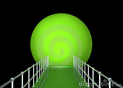 Green Tunnel With Railing