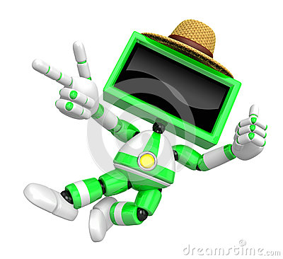 Green TV character are kindly guidance. Create 3D Television Robot Series.