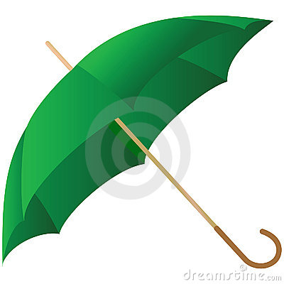 The green umbrella represented on a white