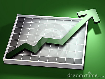 Green up arrow and chart