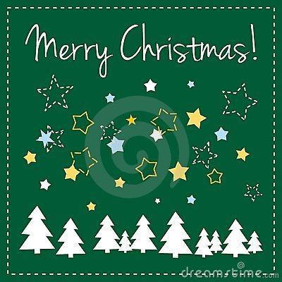 Green vector Christmas card with trees and wishes