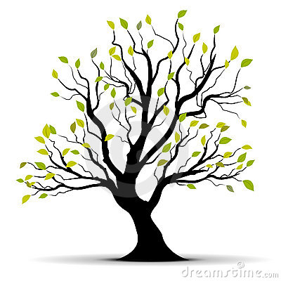 Green vector tree over white