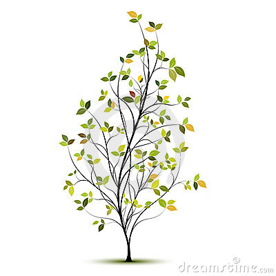 Green vector tree silhouette with leaves