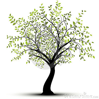 Green vector tree, white background