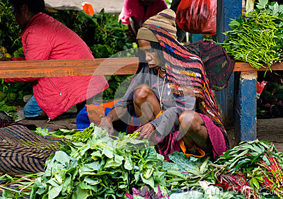 Green vegetable displayed for sale at a local market in Wamena Editorial Photo
