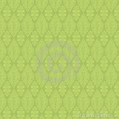 Green Vintage Damask Seamless Wallpaper