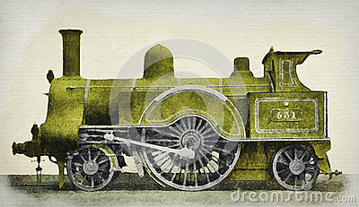 Green Vintage Steam Locomotive of Middle 19 Ages Stock Photo