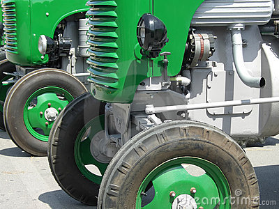 Green vintage tractors detail