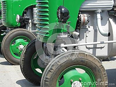 Green vintage tractors detail