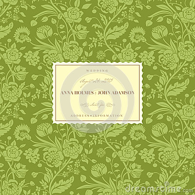 Green vintage wedding card