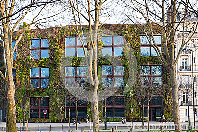 Green wall of Quai Branly Museum in Paris Editorial Stock Image