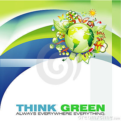 Green Waves and Globe Abstract Background