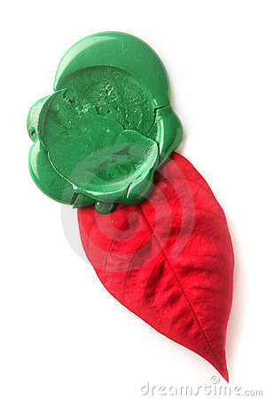 Green wax seal with red leaf