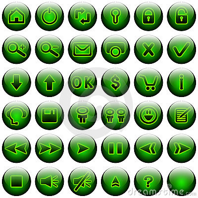 Green Web Buttons Set