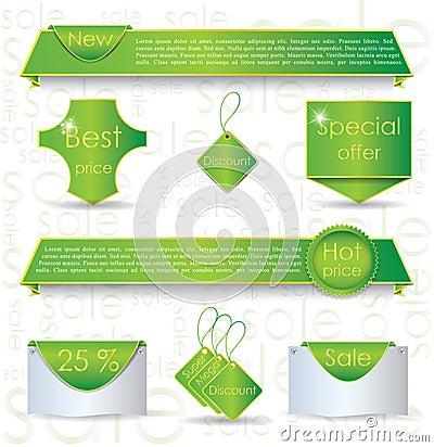 Green web design banner sale for website