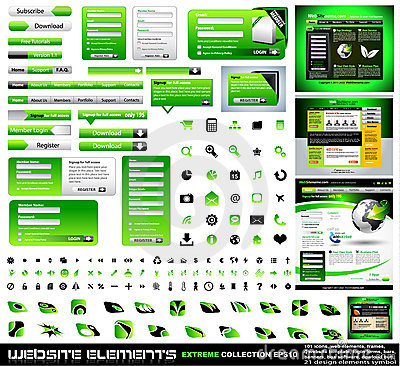 Free Green Web Design Elements Extreme Collection Royalty Free Stock Image - 18518086