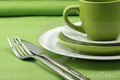 Green and white dishware