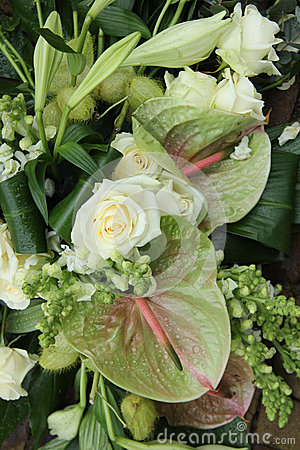 Green white floral arrangement