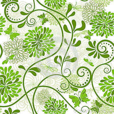 Free Green-white Floral Pattern Royalty Free Stock Photo - 26990125