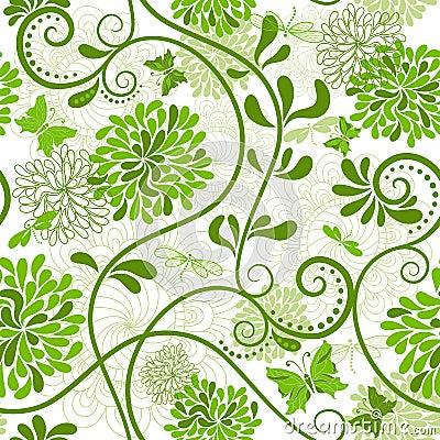 Green-white floral pattern
