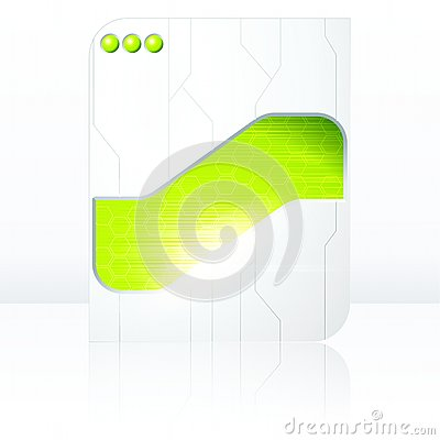 Green & white futuristic sign with transparencies