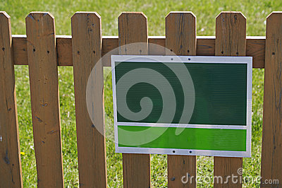 Green White Sign Picket Fence
