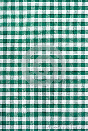 Green and white tablecloth