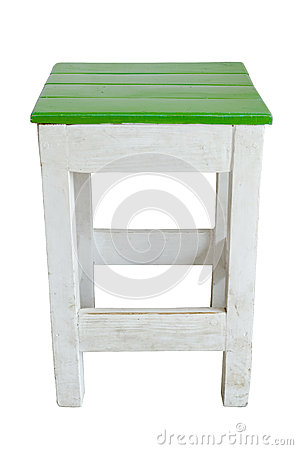 Green and white wood chair