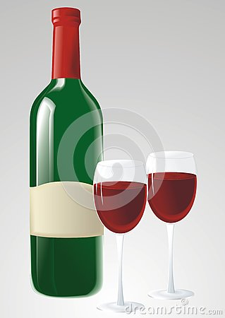 Green wine bottle and glasses