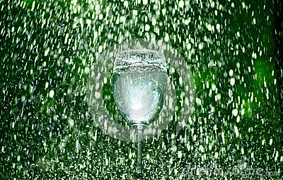Green wine glass rain drop