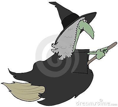 Green Witch On A Broom