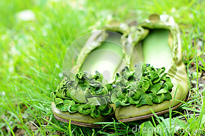 Green woman shoes with flowers in green grass
