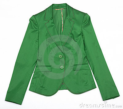Green Women's jacket. Isolated object on a white background