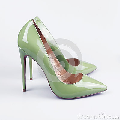 Free Green Women Shoes On White Background. Stock Image - 71529451