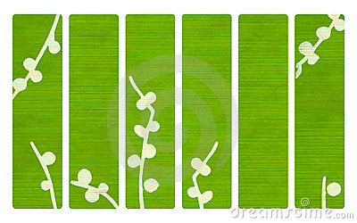 Green wood banners with Japanese branch print
