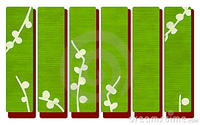 Green wood banners on red