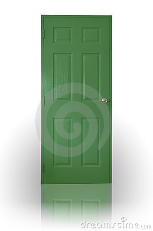 Green wood door