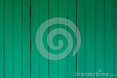 Green wood door Thai art