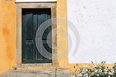 Green wooden door Stock Photo