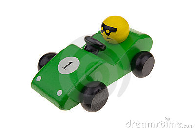 Green wooden toy race car