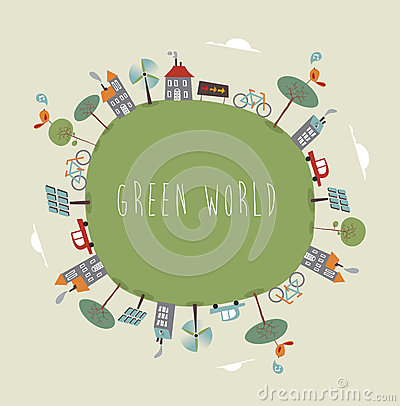 Free Green World Cute Design Royalty Free Stock Images - 32018079