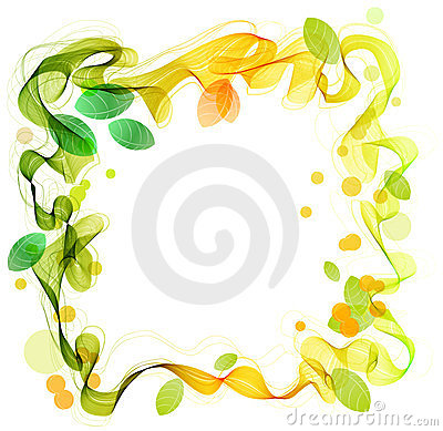 Green and yellow abstract wave with leaf