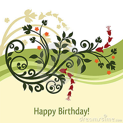 Green and yellow birthday card