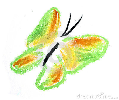 Green and yellow butterfly simple illustration